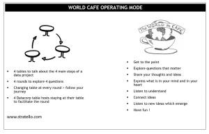 Principe d'animation d'un world café pour la co-construction d'un parcours client interne.