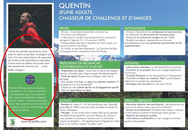Focus insight client et promesse enseigne sur fiche persona d'un tour opérateur A télécharger sur le site www.palmesetrando.fr/