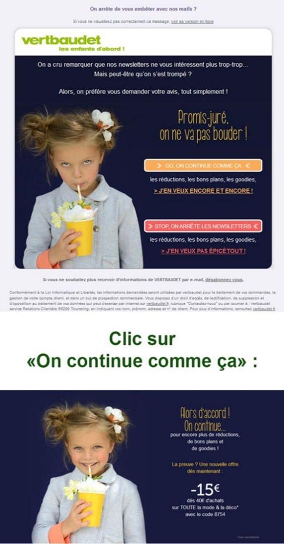 Réengagez via une adhésion à une newsletter , l'exemple de vert Baudet